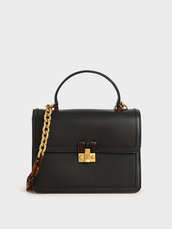 Chunky Chain Strap Bag, Black, hi-res