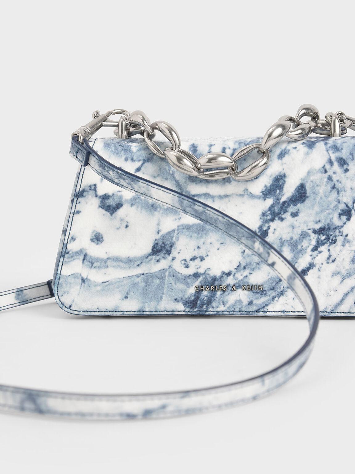 Metallic Chain Top Handle Bag, Multi, hi-res