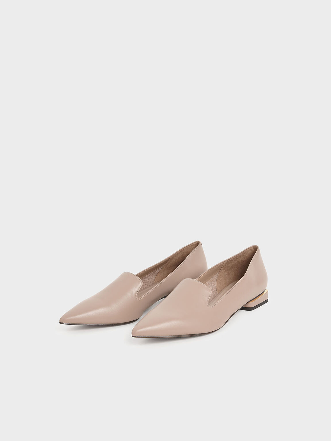 Metal Accent Heel Loafers, Taupe, hi-res