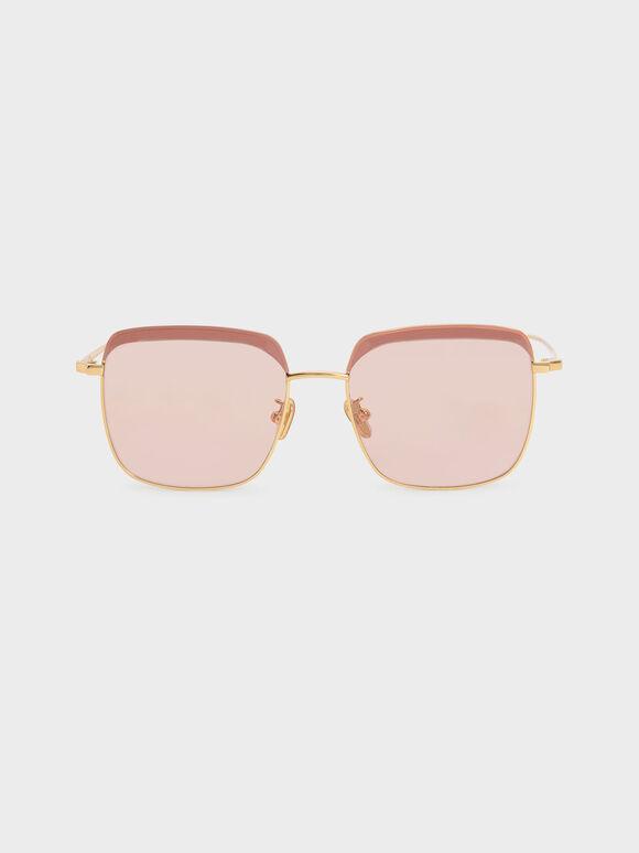 Thin Metal Frame Square Sunglasses, Pink, hi-res