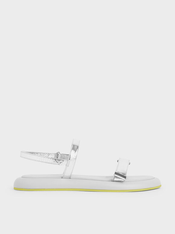 Metallic Velcro Strap Sandals, Silver, hi-res