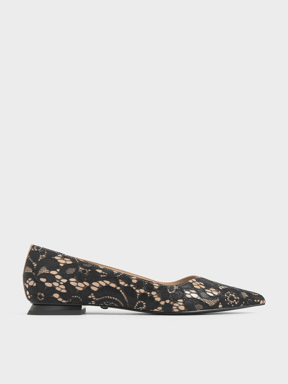 Patent Leather Lace Ballerina Flats, Black Textured, hi-res