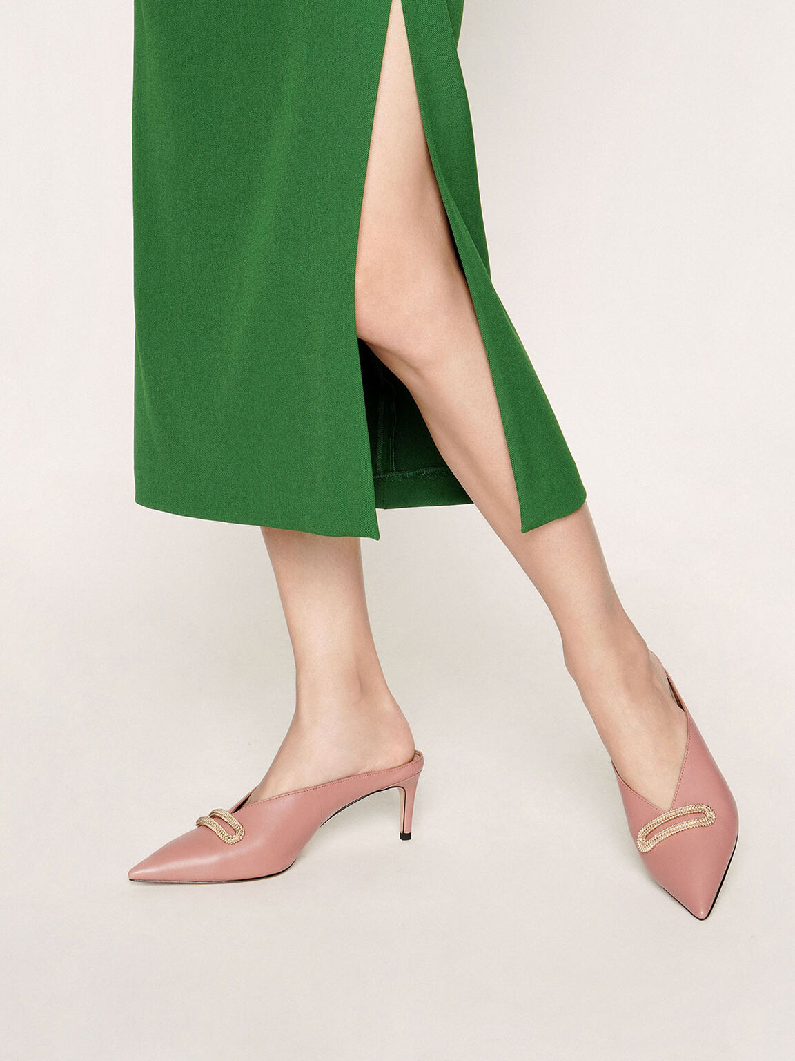 Leather Metallic Accent Heeled Mules, Blush, hi-res