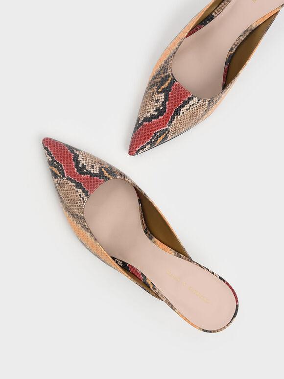 Multicoloured Snake Print Pointed Toe Kitten Heel Mules, Multi, hi-res