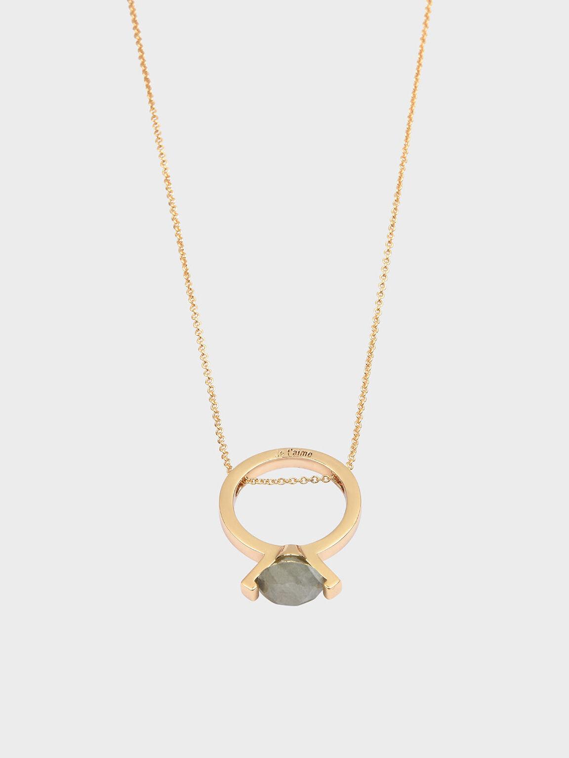 Labradorite Stone Ring Matinee Necklace, Gold, hi-res
