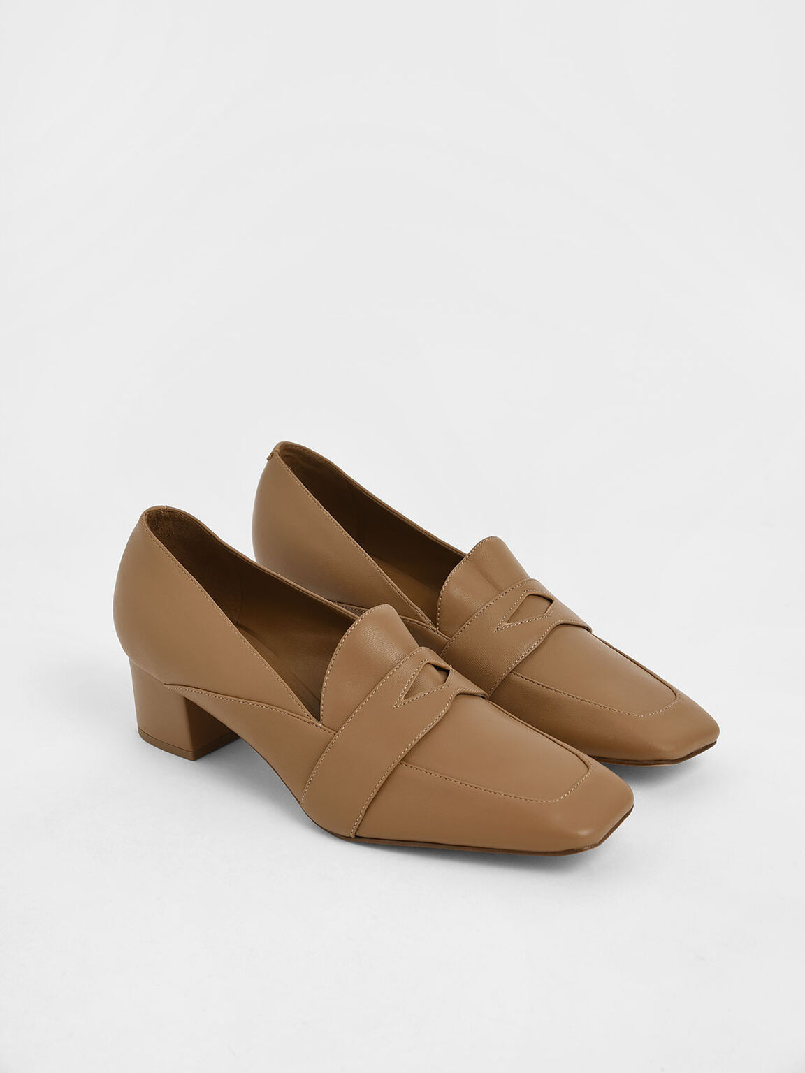 Square Toe Block Heel Loafers, Beige, hi-res