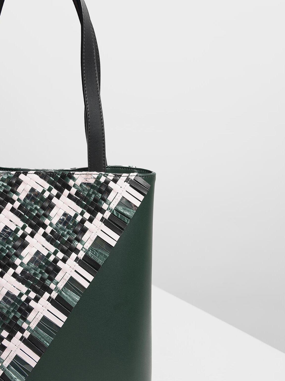 Woven Tote Bag, Dark Green, hi-res