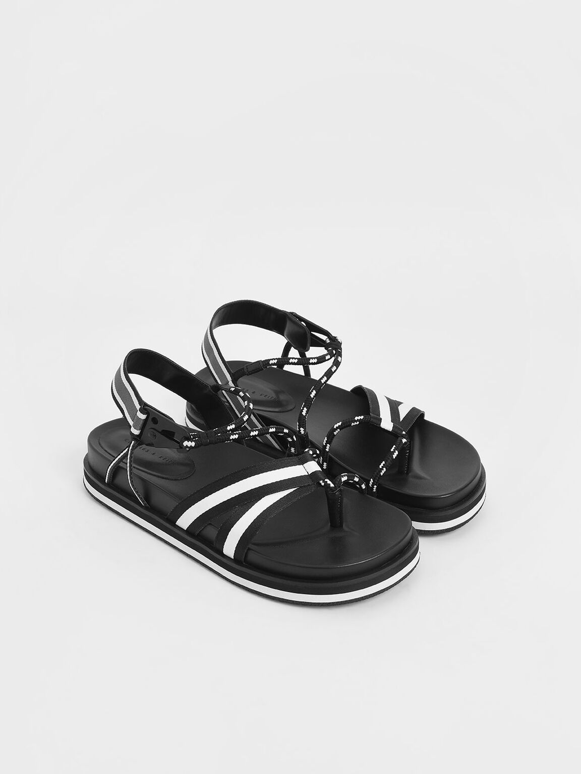 Two-Tone Grosgrain & Rope Flatform Sandals, Black, hi-res