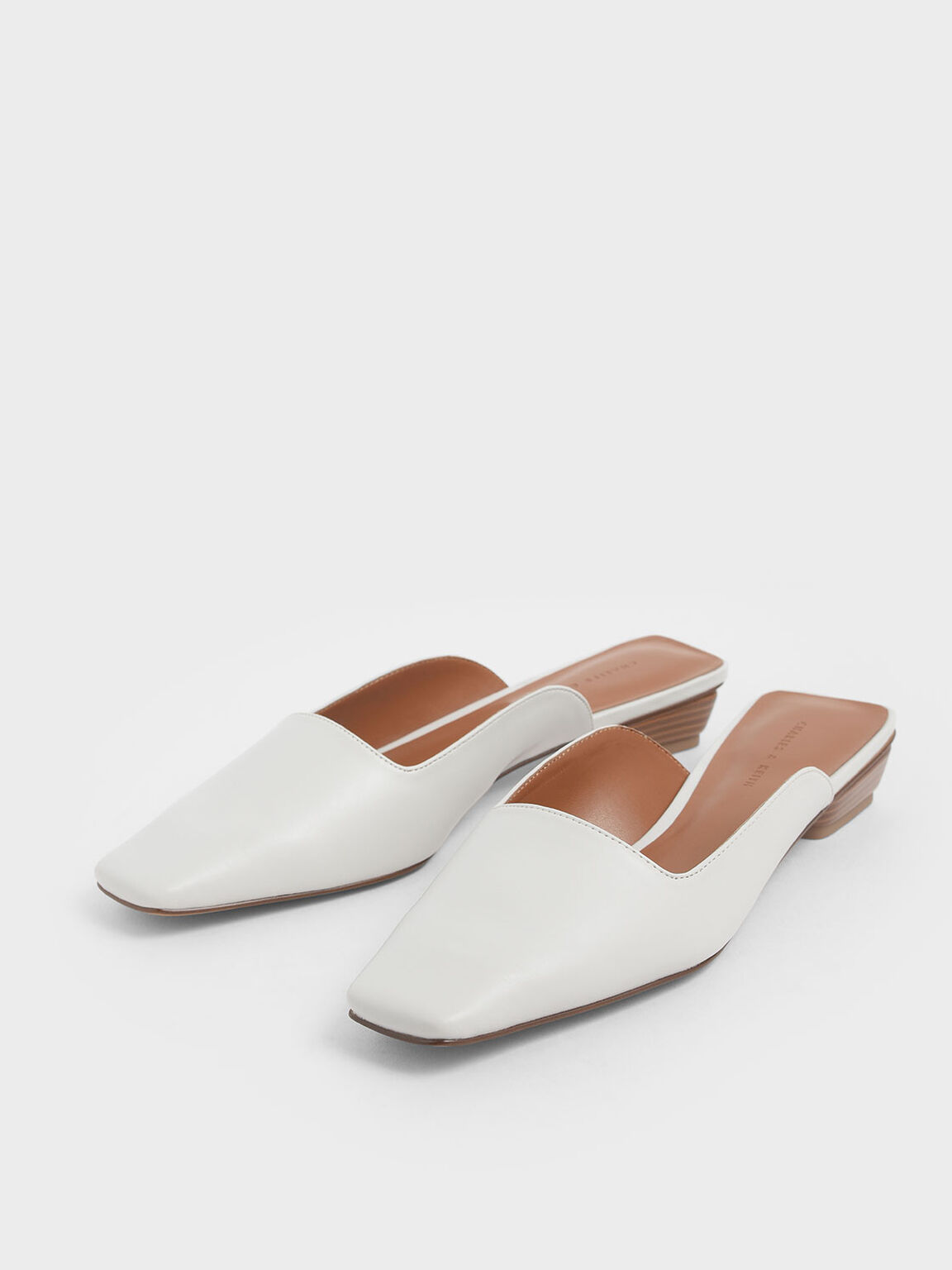 Square Toe Stacked Heel Mules, White, hi-res