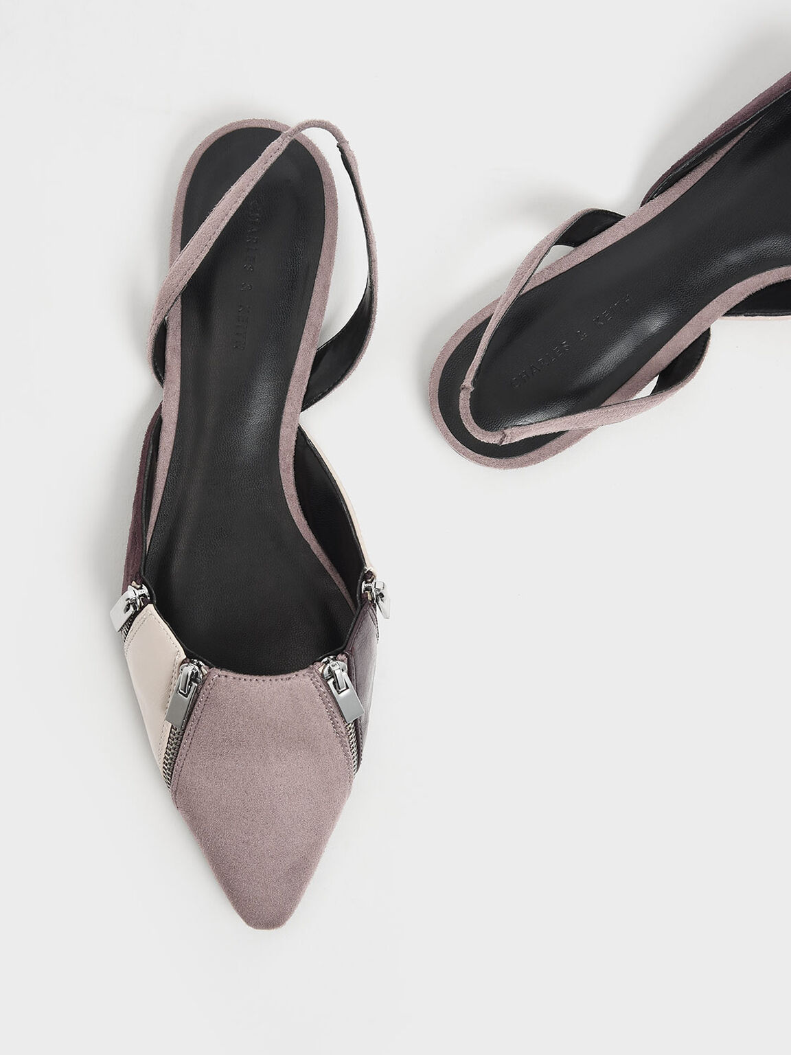Multicolour Zip Detail Pointed Toe Textured Slingback Flats, Multi, hi-res
