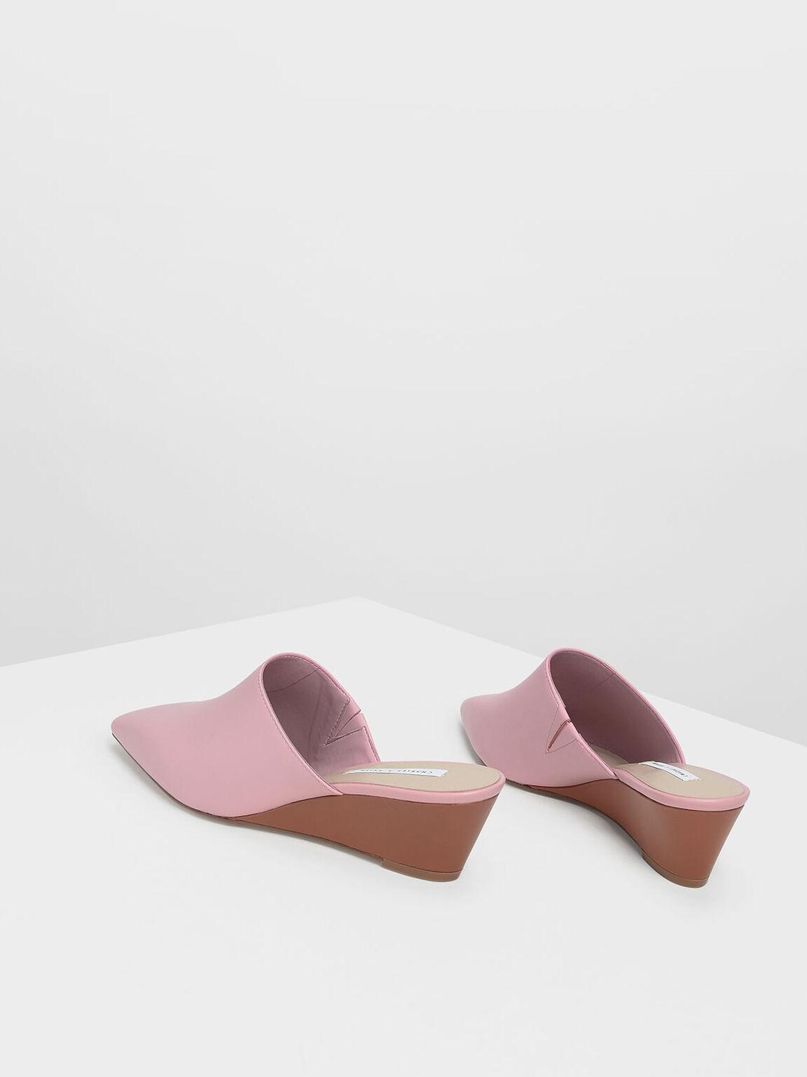 Closed Toe Low Wedge Mules, Pink, hi-res