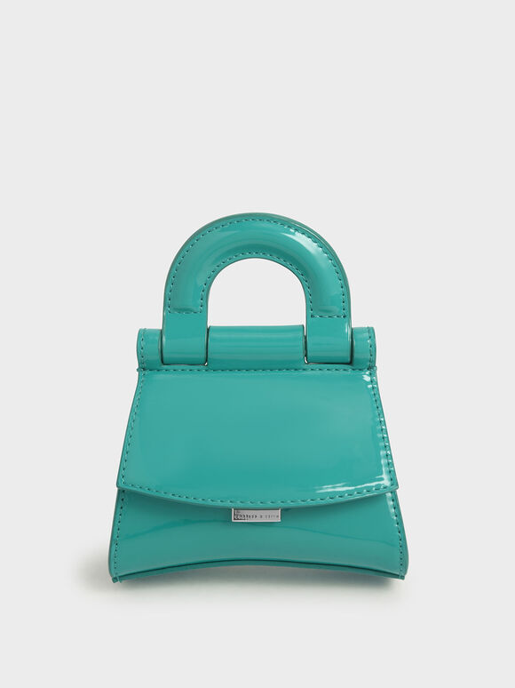 Mini Patent Top Handle Pouch Bag, Teal, hi-res