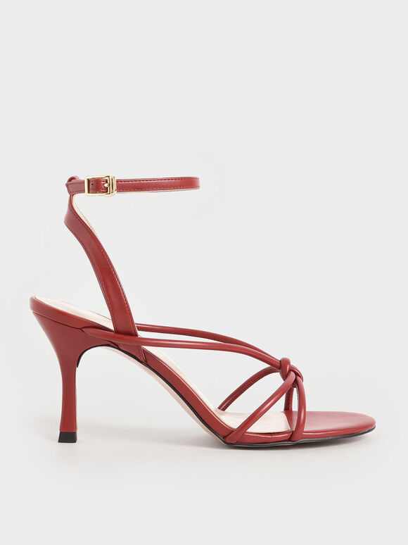Front Knot Heeled Sandals, Red, hi-res