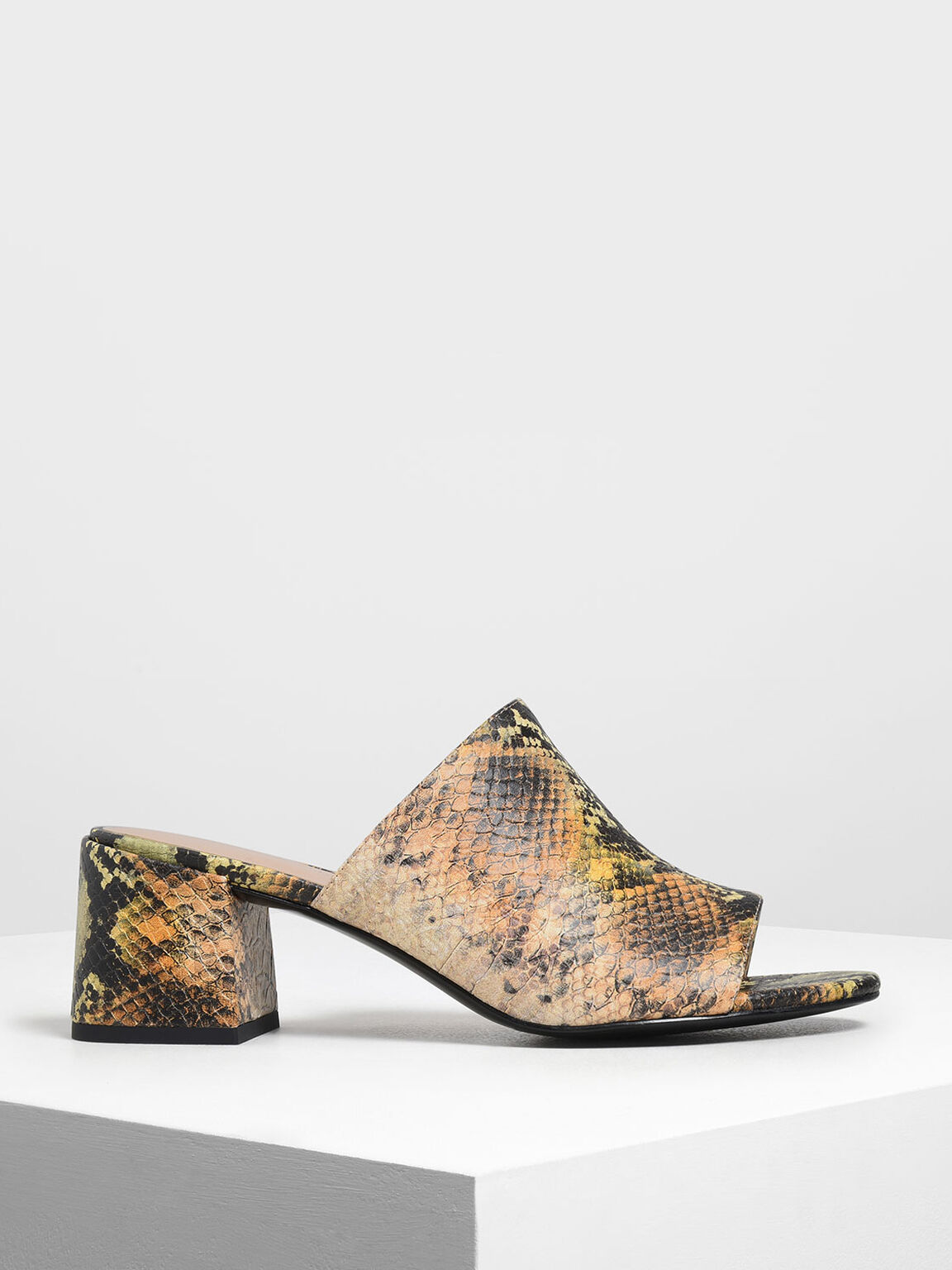 Snake Print Block Heel Slide Sandals, Multi, hi-res