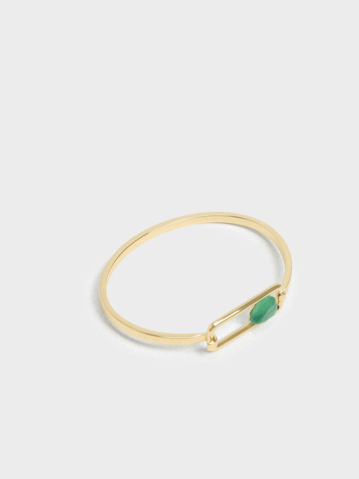 Green Agate Bangle, Gold, hi-res