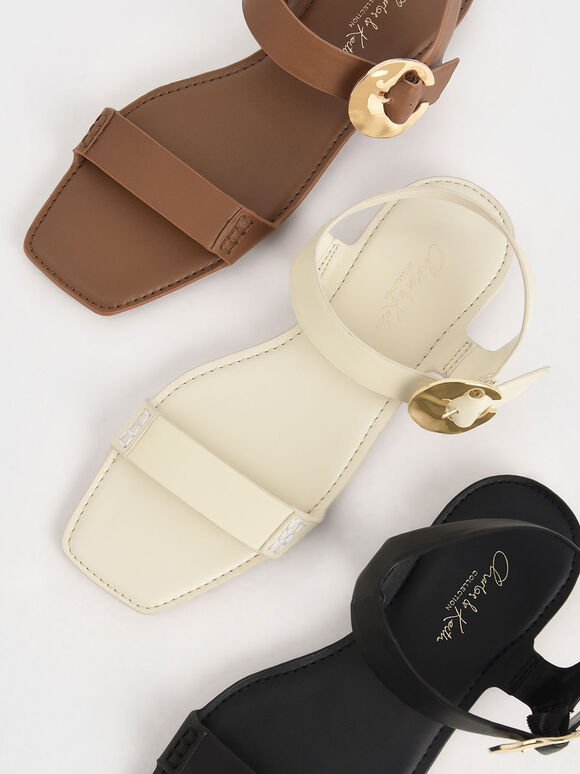 Leather Hammered Buckle Flats, Chalk, hi-res