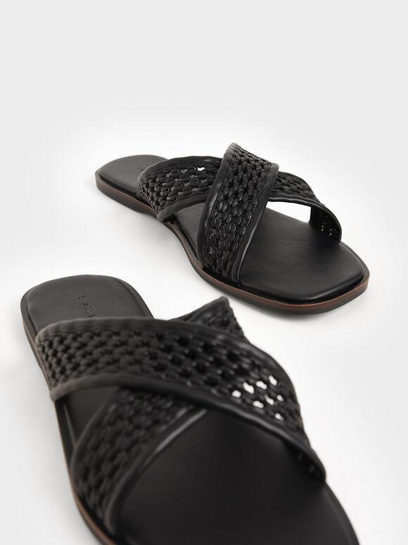 Weave Detail Crossover Slides, Black, hi-res