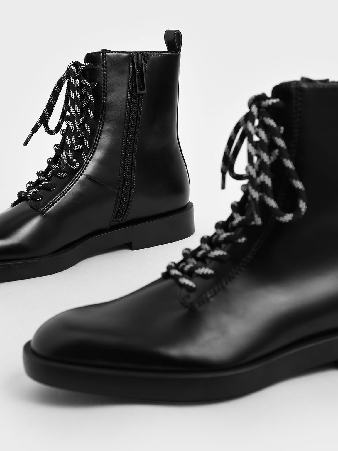 Lace-Up Ankle Boots, Black, hi-res
