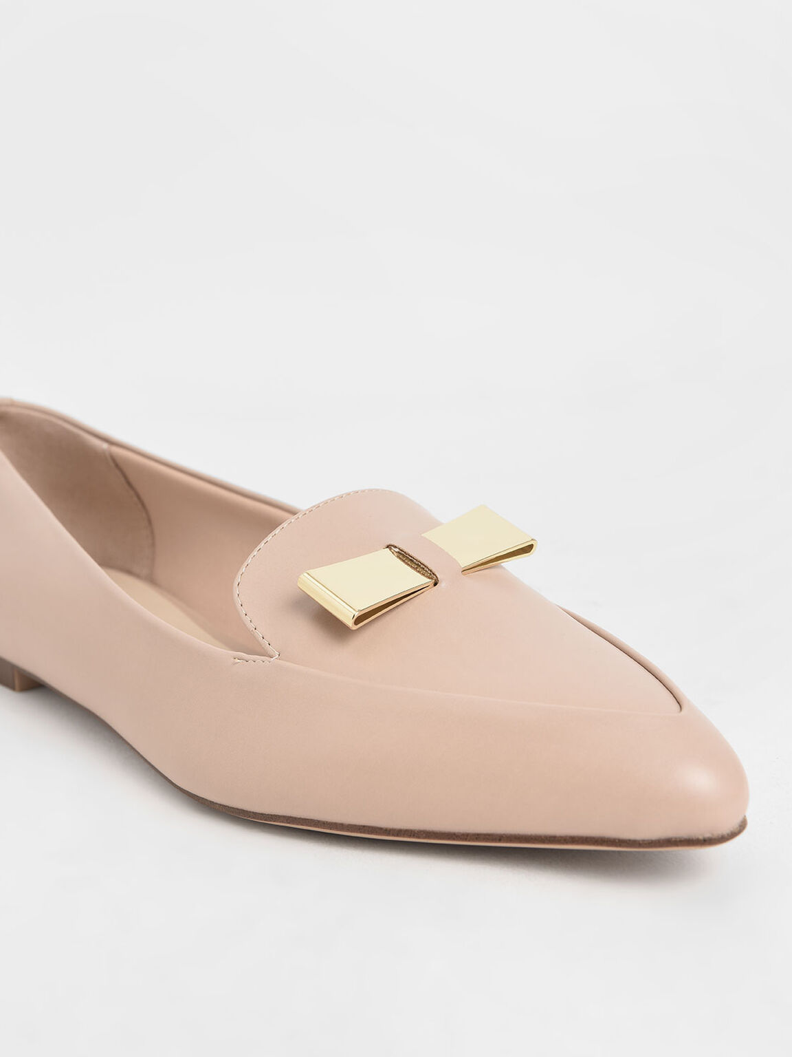Metal Bow Pointed Loafers, Nude, hi-res