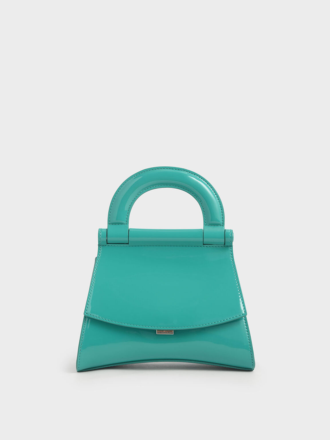 Patent Top Handle Bag, Teal, hi-res