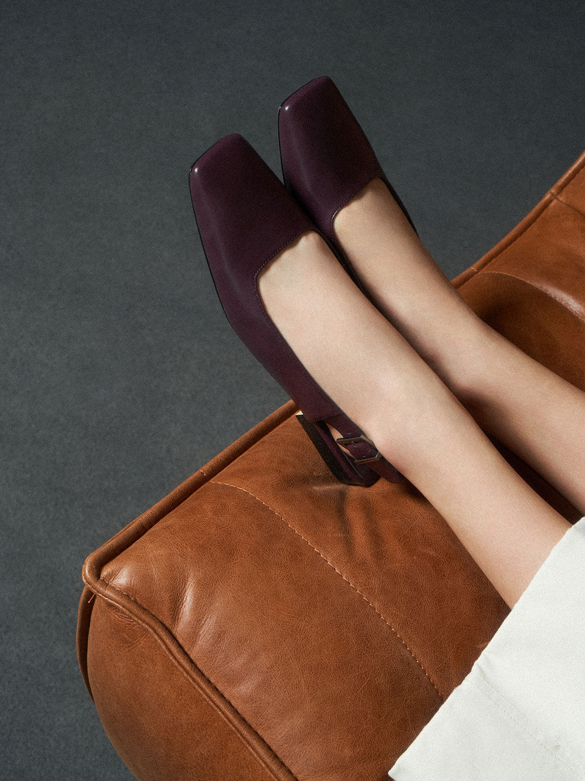 Square Toe Slingback Ballerina Flats, Prune, hi-res