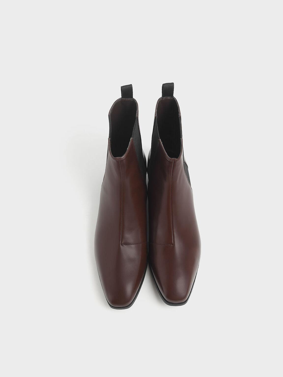 Metal Accent Heel Chelsea Boots, Brown, hi-res