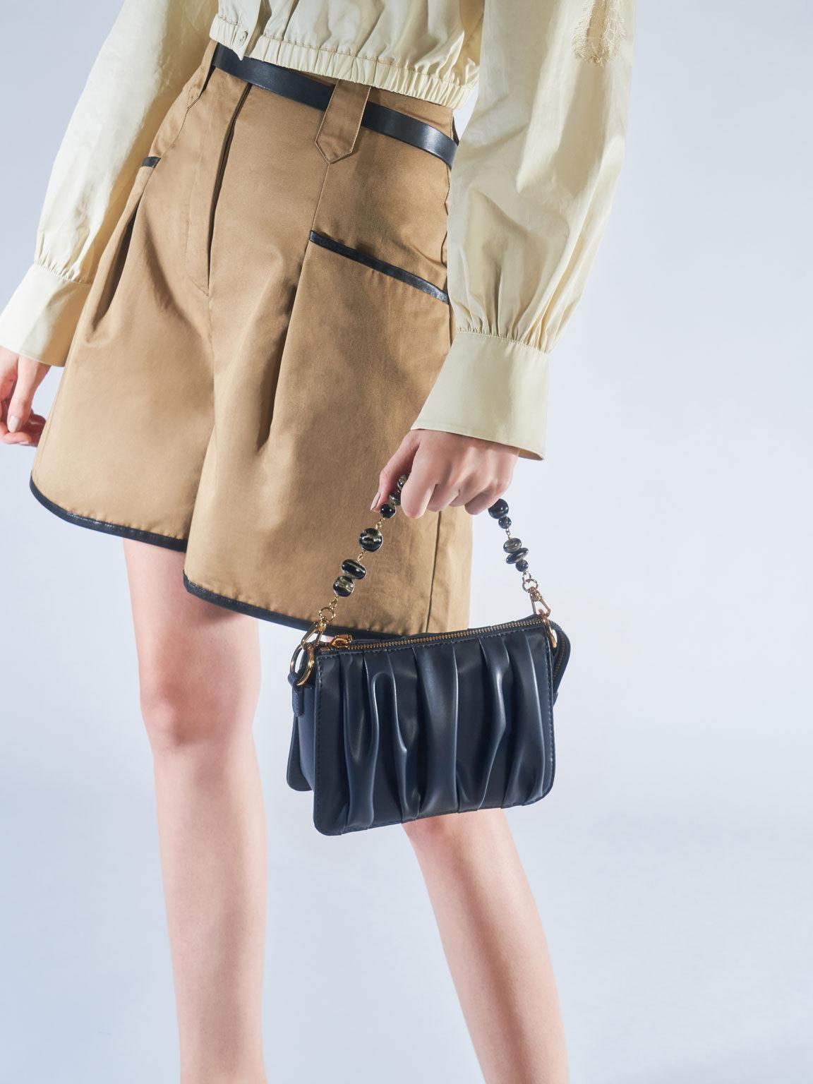 Beaded Strap Ruched Shoulder Bag, Navy, hi-res