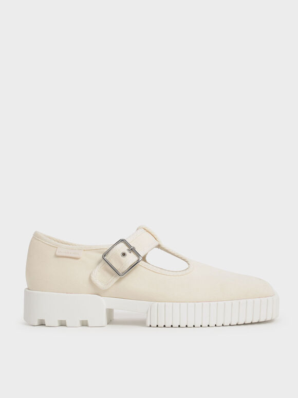 Recycled Cotton Buckle Sneakers, Cream, hi-res