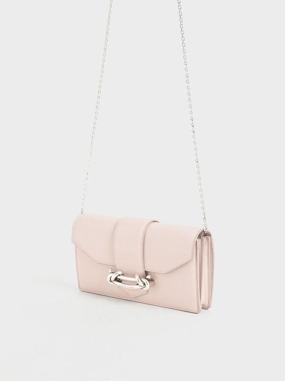 Metallic Buckle Mini Long Wallet, Light Pink, hi-res