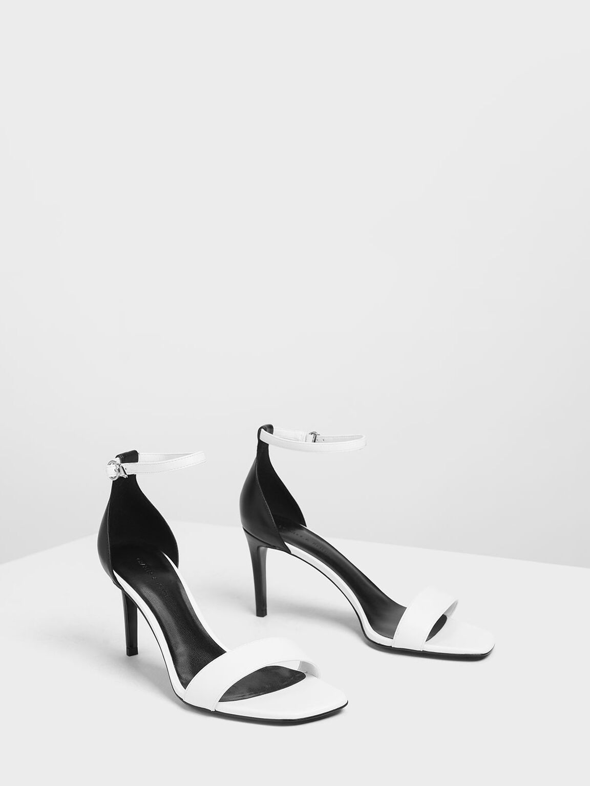 Classic Ankle Strap Heels, White, hi-res