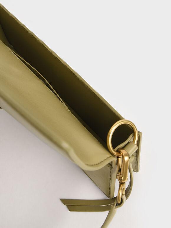 Metallic Buckle Shoulder Bag, Khaki, hi-res