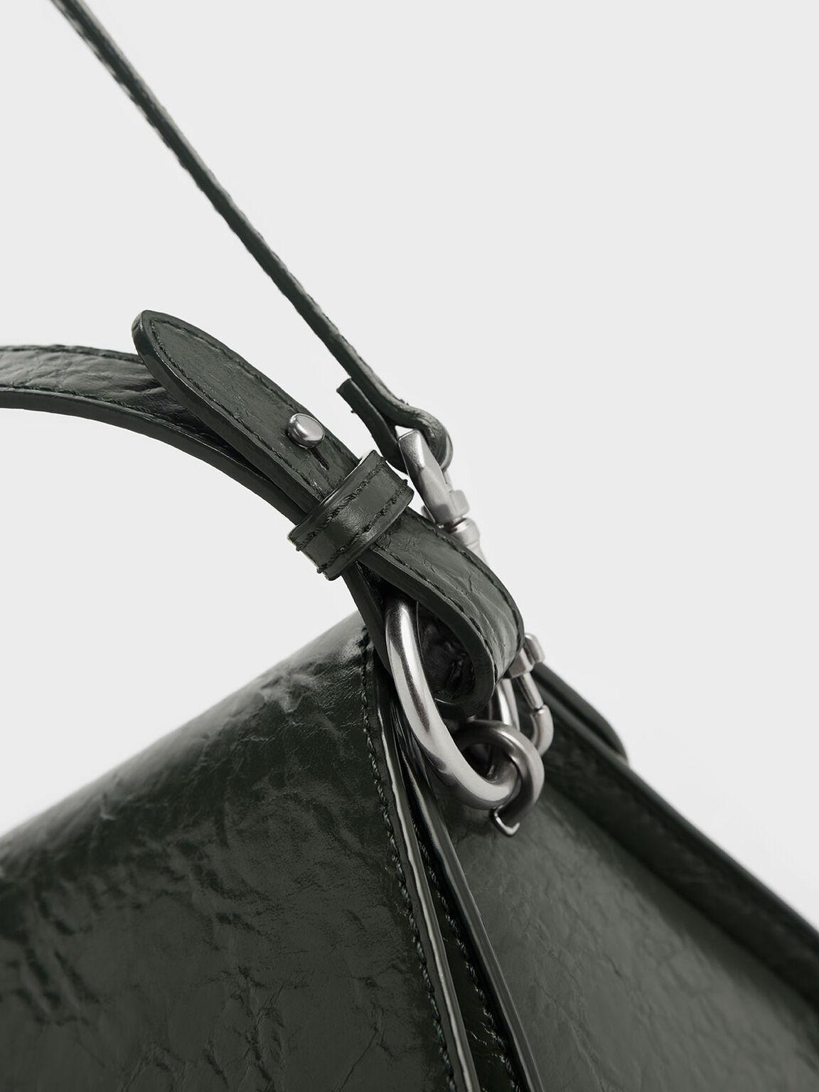 Wrinkled Effect Push Lock Handbag, Dark Green, hi-res