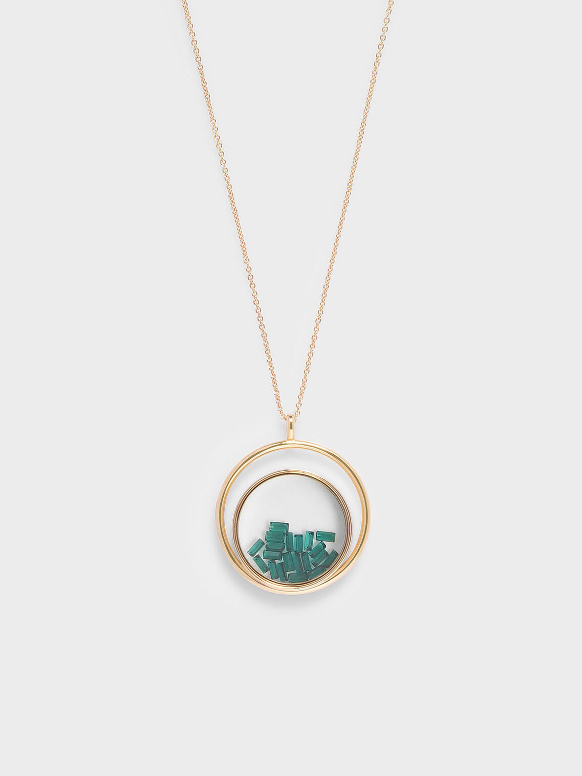 Swarovski® Crystal Emerald Stone Floating Locket Matinee Necklace, Copper, hi-res