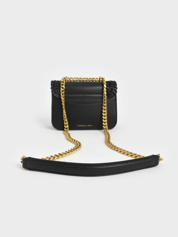 Woven Double Chain Handle Bag, Black, hi-res