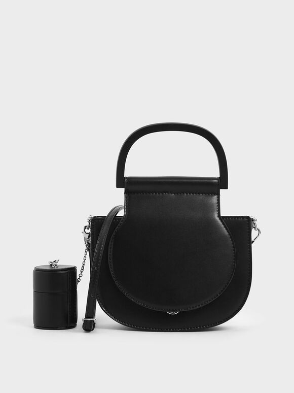 Mini Top Handle Saddle Bag, Black, hi-res