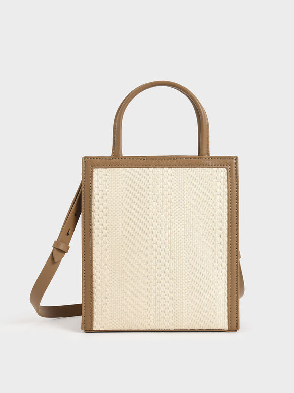 Double Handle Tote Bag, Khaki, hi-res