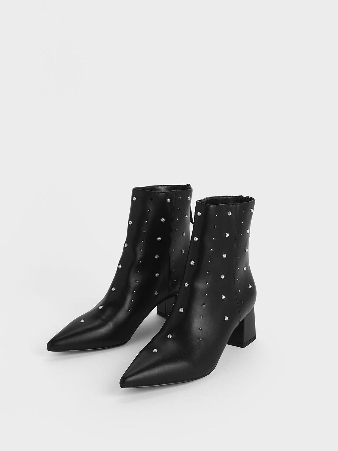Embellished Block Heel Ankle Boots, Black, hi-res