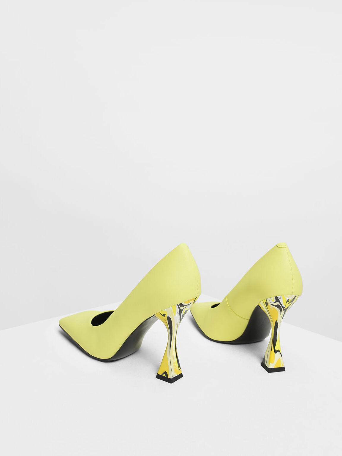 Square Toe Geometric Heel Pumps, Yellow, hi-res