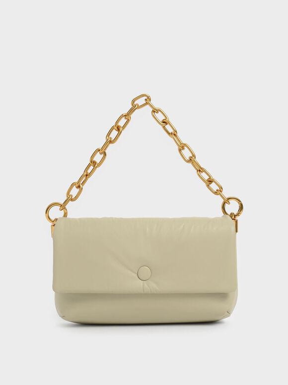Zadie Padded Shoulder Bag, Taupe, hi-res
