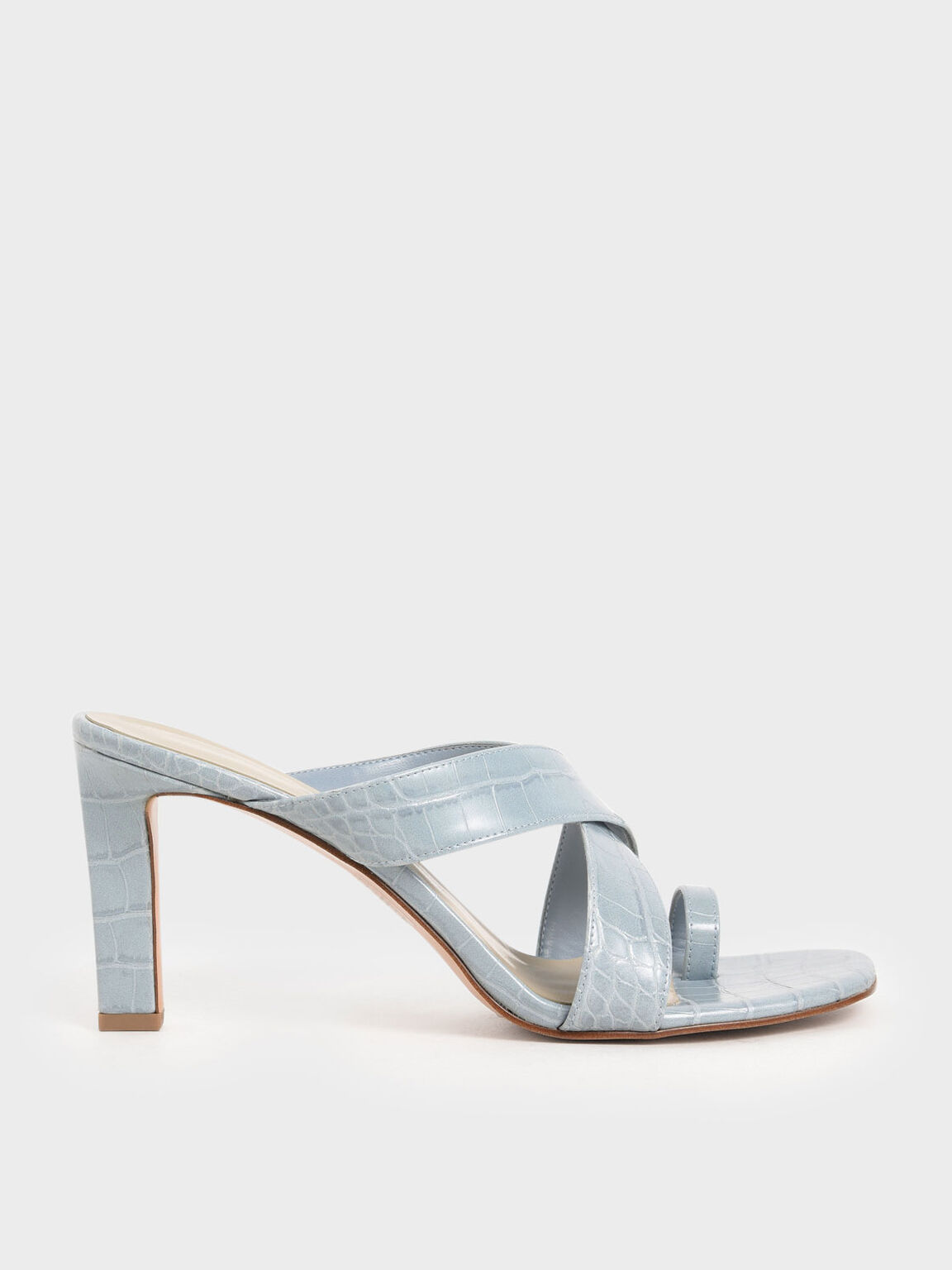 Croc-Effect Heeled Mules, Blue, hi-res