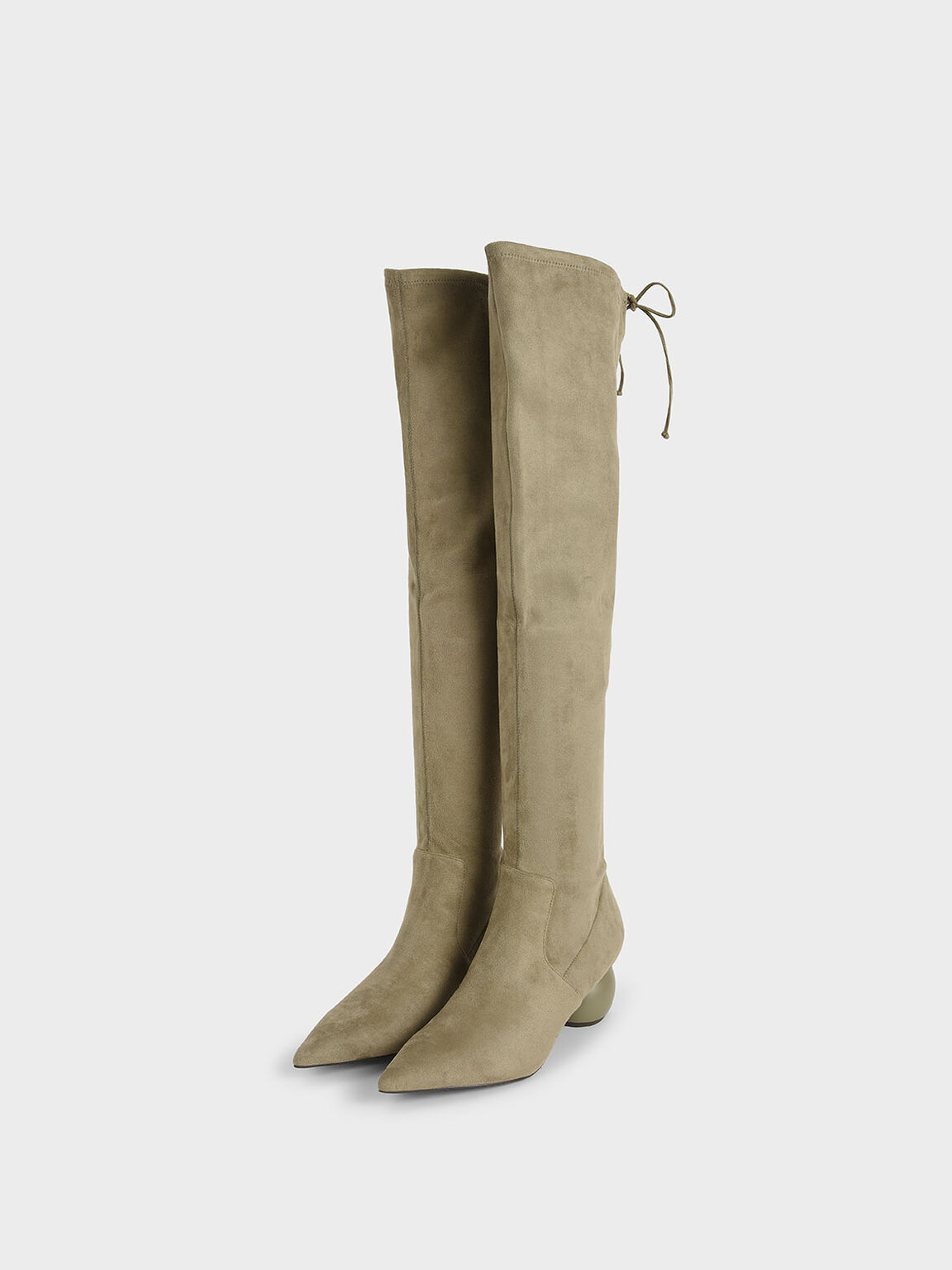 Textured Thigh High Boots, Olive, hi-res