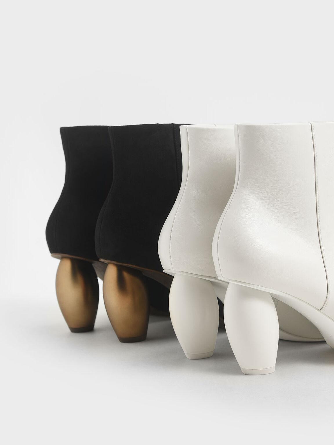 Textured Sculptural Heel Ankle Boots, Black, hi-res