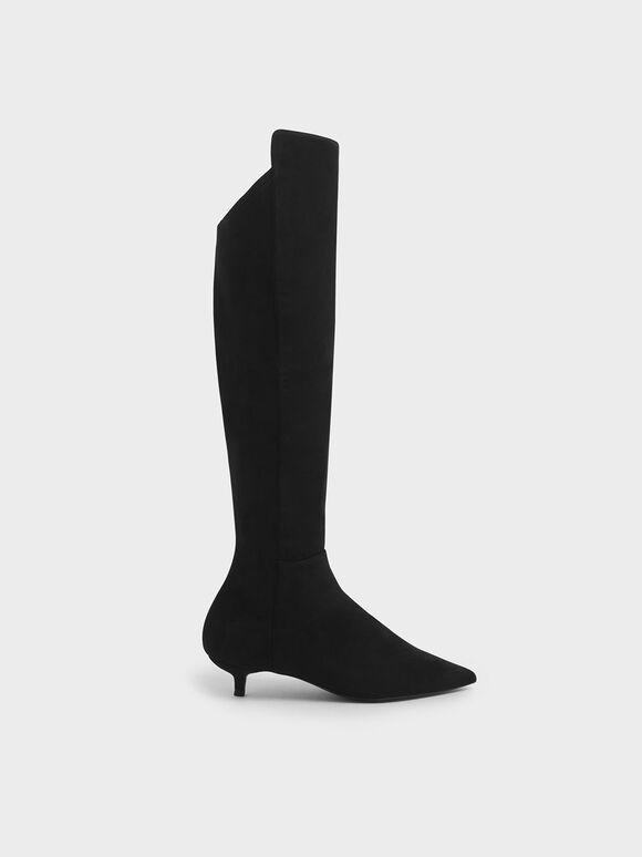 Textured Kitten Heel Knee High Boots, Black, hi-res