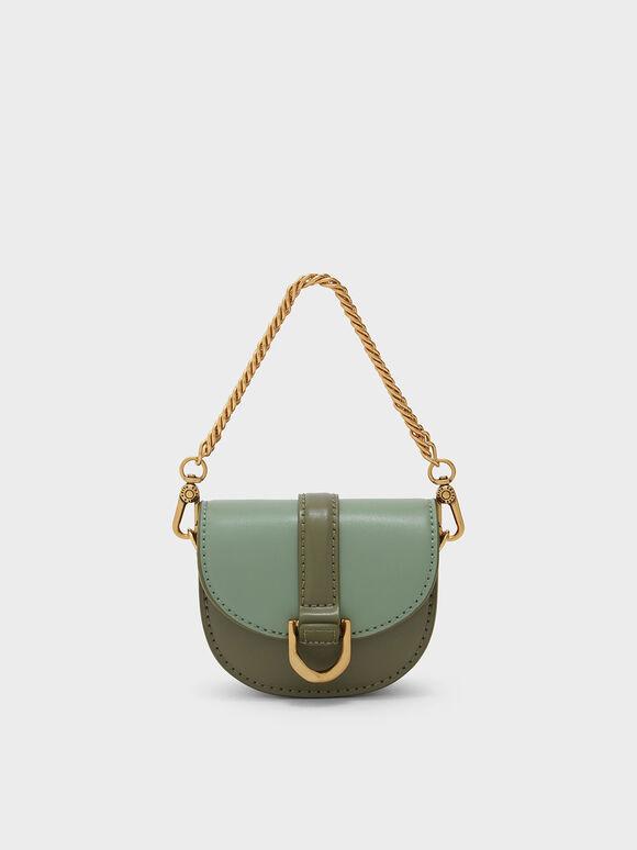 Micro Gabine Two-Tone Saddle Bag, Olive, hi-res