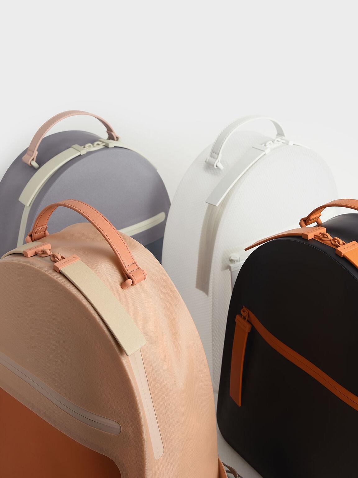 Front Zip Backpack, Grey, hi-res