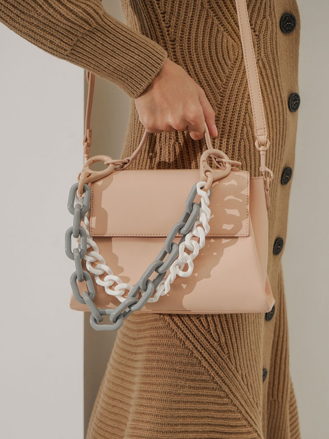 Double Chain Link Bag, Pink, hi-res