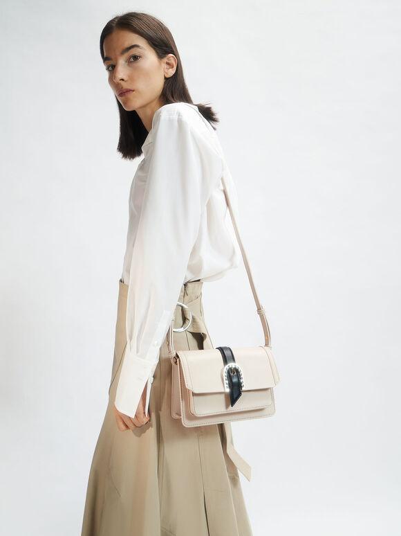 Leather Buckled Bag, Chalk, hi-res