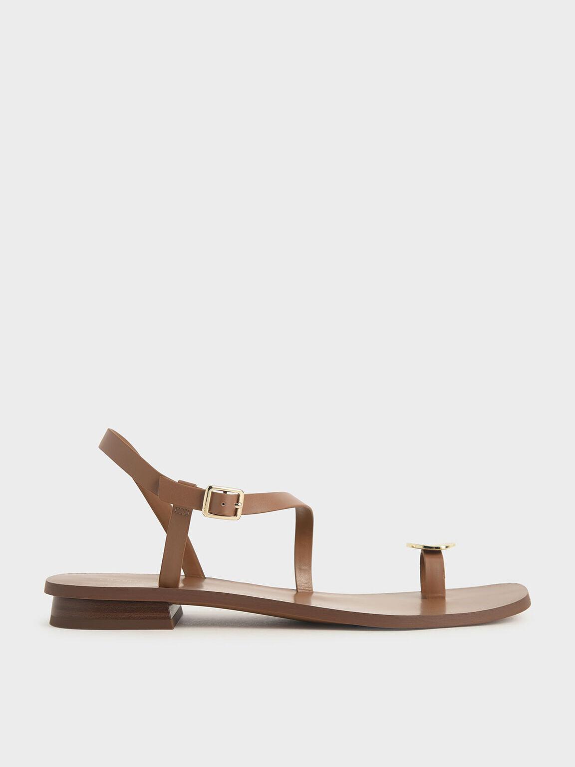 Metal Accent Toe Loop Sandals, Brown, hi-res
