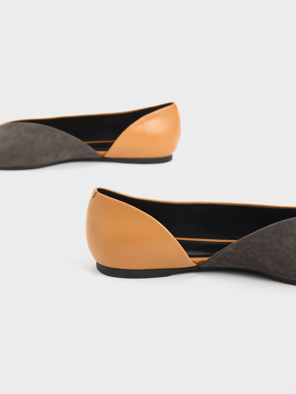 Two-Tone Textured D'Orsay Flats, Caramel, hi-res