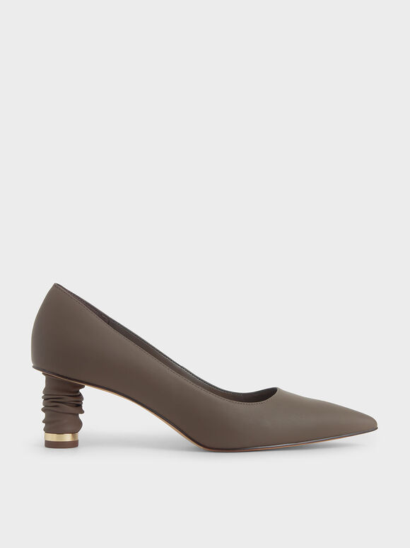 Cylindrical Heel Pointed Toe Court Shoes, Dark Brown, hi-res